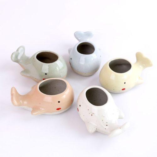 Ceramic Mini Whale Plant Pot