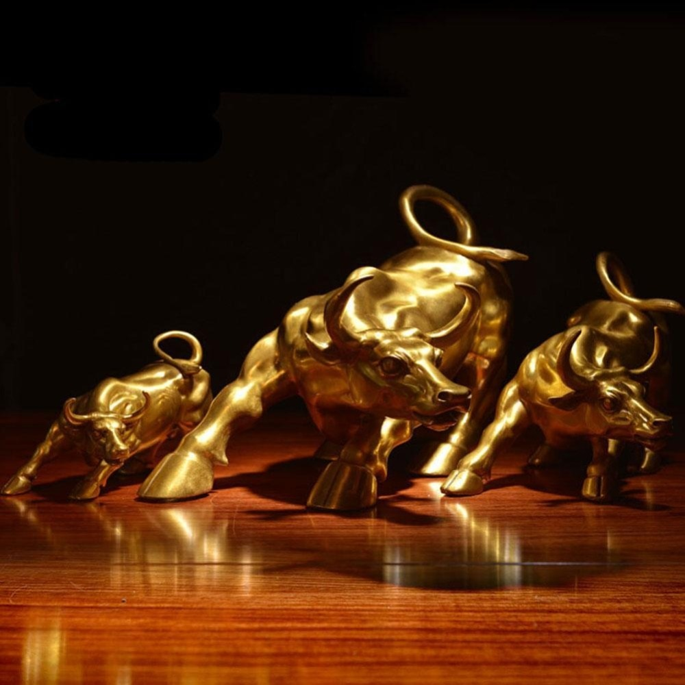 100% Brass Bull Wall Street Cattle Sculpture Charging Stock Market Copper Cow Statue Mascot Crafts Ornament Home Office Gift