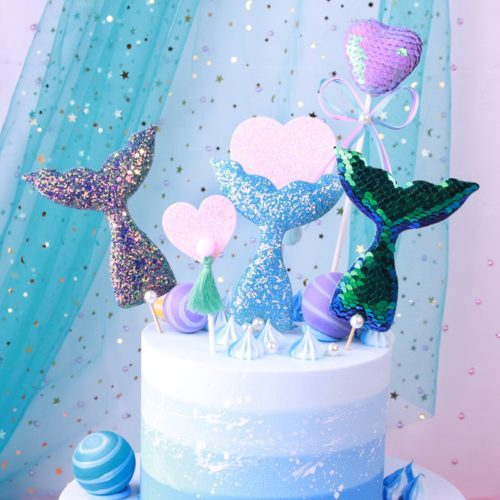 Sequin Mermaid Tail Cake Toppers (3pcs)