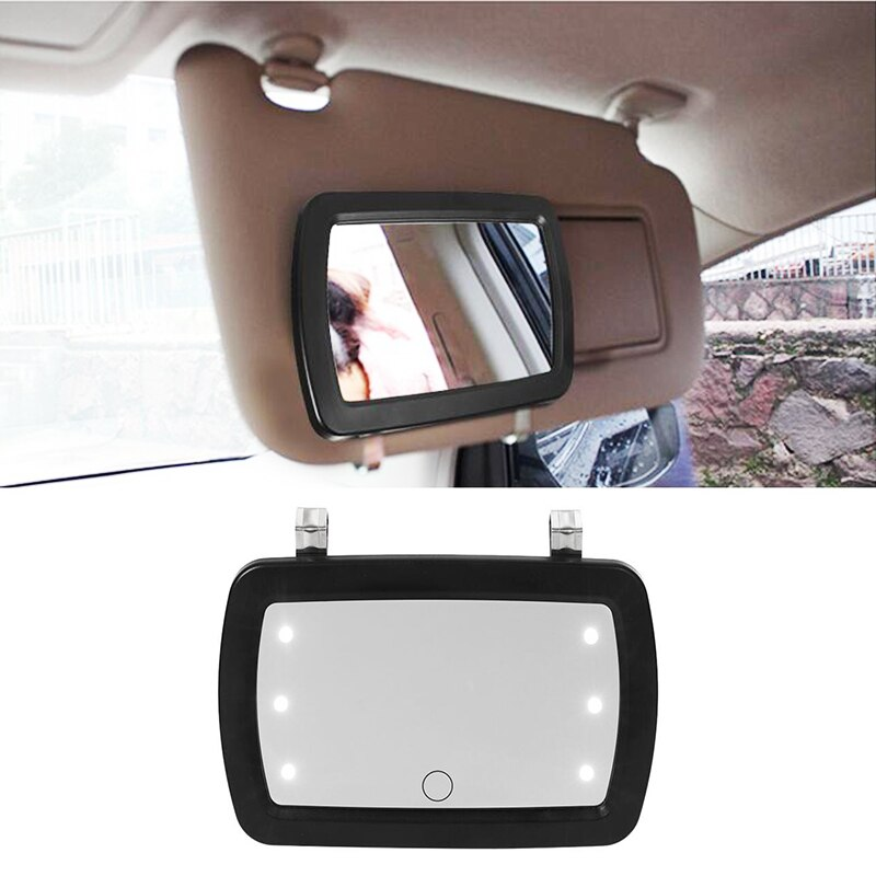 Universal LED Car Interior Mirror Touch Switch Makeup Mirror Sun Visor High Clear Interior HD Mirror 170*110mm-no battery