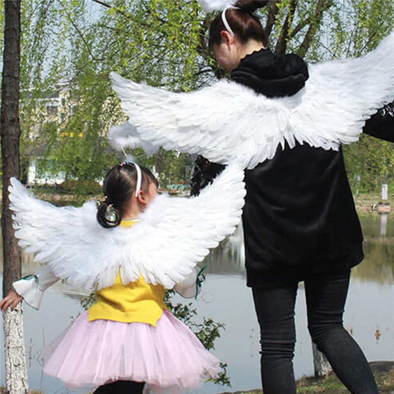 YiZYiF Children's White Feather Angel Wings for Dance Party Cosplay Costume Stage Show Masquerade Carnival Holiday Fancy Dress