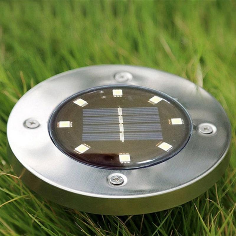 10Pcs Solar Powered Ground Light 8 Led Outdoor Garden Landscape Pathway Solar Buried Floor Light Underground Lamps
