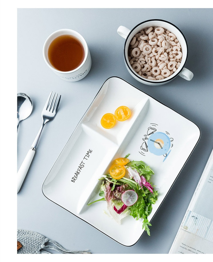 Nordic Rectangle Ceramic Dinner Plate Cartoon Porcelain Plate Glaze Breakfast Steak Fruit Dessert Tray Baby Snack Dishes Plate