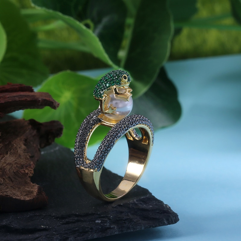 Huitan Cute Animal Ring Jumping Frog Shaped Fancy Rings Birthday Gift For Children Rough Surface With Simulated Pearl Ring
