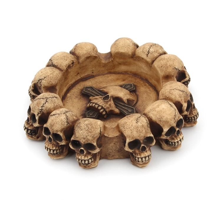Skull Ashtray Crafts Decoration Cigarette Ash Skeleton Head Sculpture Container Skull Statue Home Office Bar Resin Ornament
