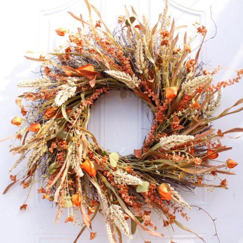 Fall Hanging Artificial Door Wreath