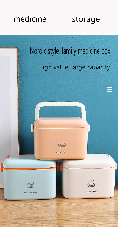 Family medicine box Macaron style Lovely and beautiful travel medical box Medicine storage box Double-layer medicine cabinet