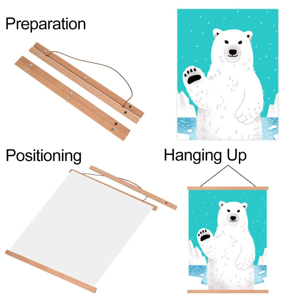 wood hanging scrolls painting magnetic core hanging clip,Solid Frame Hanger for poster photo picture Simple Nordic style