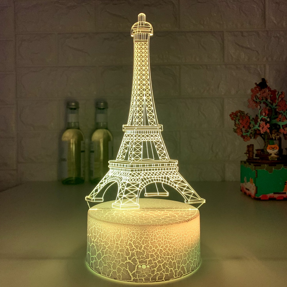 New 3d Led Light Night Creative Eiffel Tower Kids Table Lamp Hologram Illusion Bedroom Living Room 7 Colors Usb Led Light Lamps