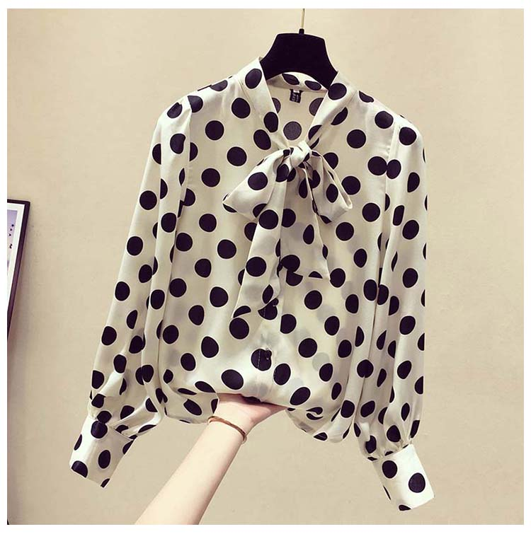 summer long sleeve dot print women's shirt blouse for women blusas womens tops and blouses chiffon shirts ladie's top plus size