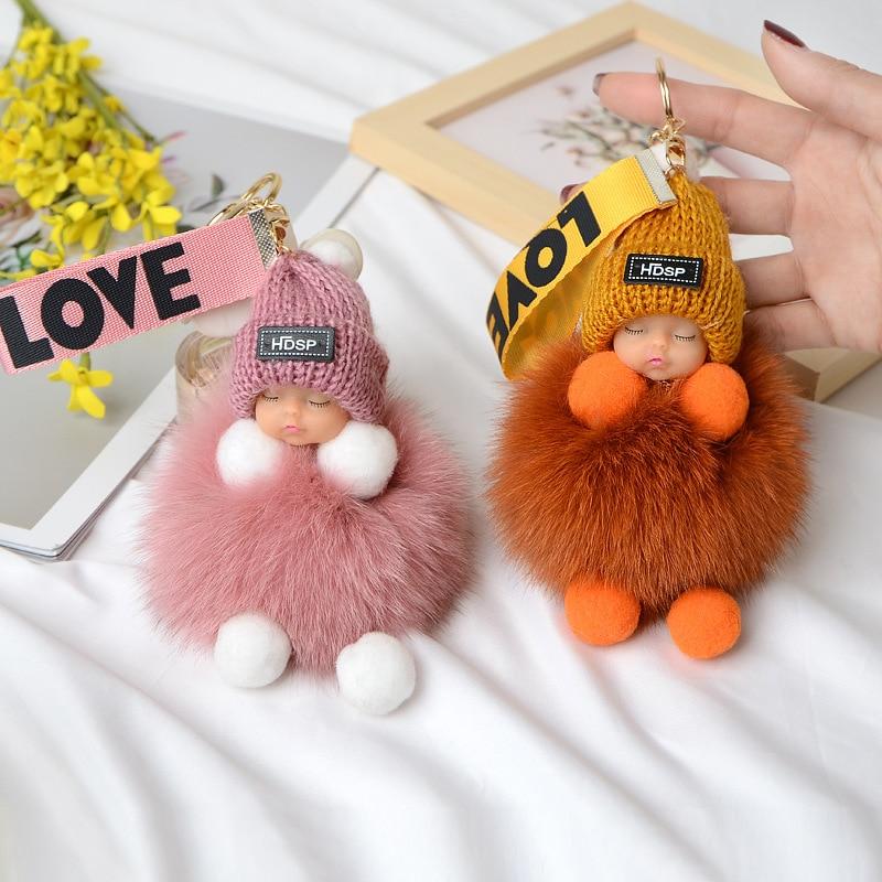 Pompom Sleeping Baby Keychain Cute Fluffy Plush Doll Keychains Women Girl Bags Keyrings Cars Key Ring Gift Charming Decoration