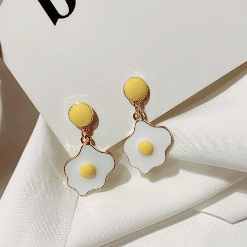 Ladies Cute Fried Egg Earrings