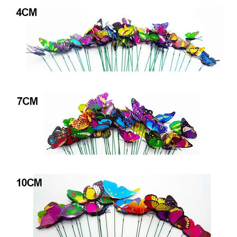 5pcs/lot 25cm Butterflies Garden Yard Planter Colorful Whimsical Butterfly Stakes Outdoor Decor Flower Pots Decoration