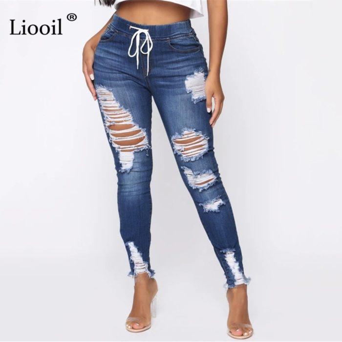 Ladies Ripped Jeans Skinny Pants