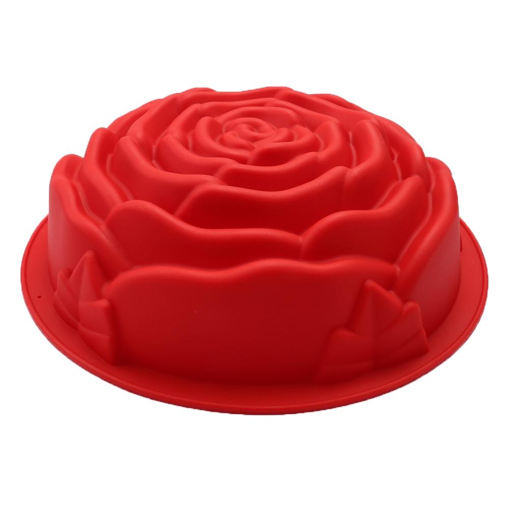 24*24cm Big Rose Flower Baking Tray Silicone Cake Mold Form Large Bakery Dish Bakeware Toast Bread Mould
