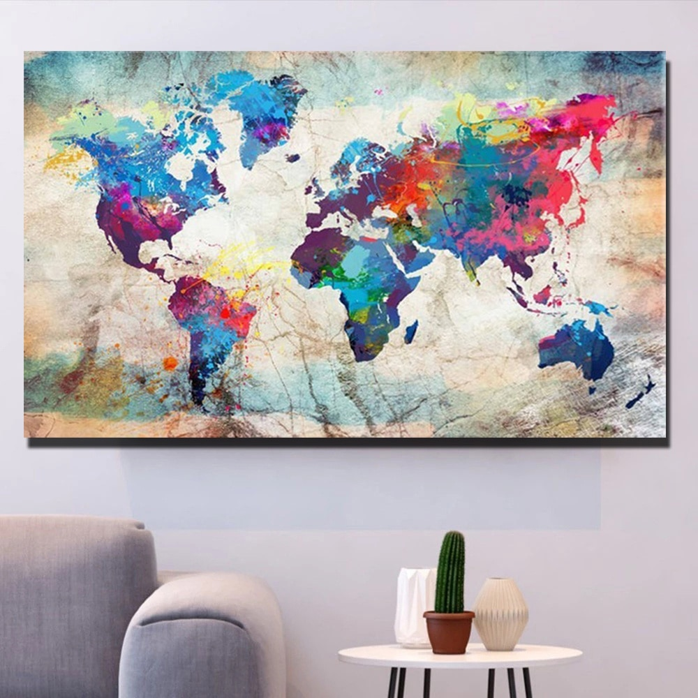 DIY Paints By Numbers Multicolored map 60x150cm Art Pictures Coloring Decorative Canvas Wall Artcraft Oil Painting By Number