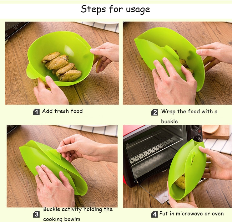 Home Kitchen Silicone Steamer Microwave Steamer Oven Fish Kettle Poacher Cooker Food Vegetable Bowl Basket Kitchen Cooking Tools