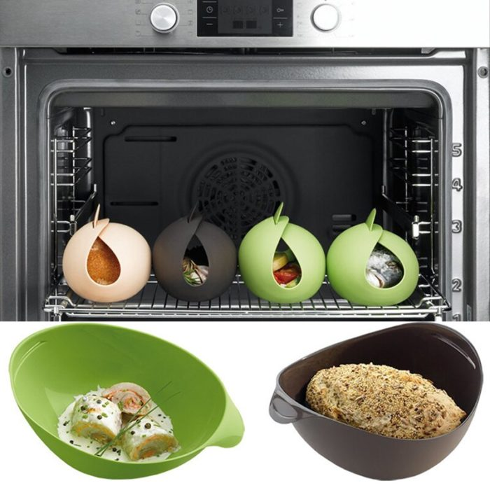Foldable Food-Safe Silicone Microwave Steamer