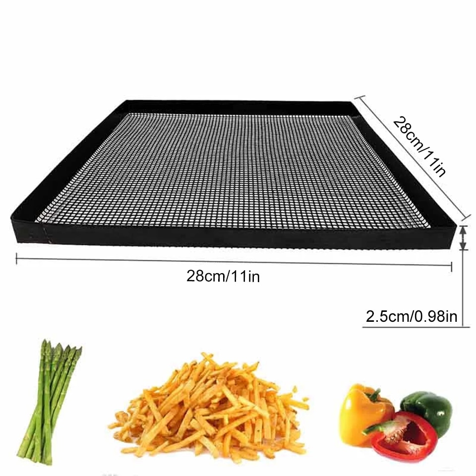 TEENRA 1Pcs Non-stick Coating Baking Tray Mat Food Basket Roaster Rack Oven Baking Mesh Tray Heat Resistant Baking Tools