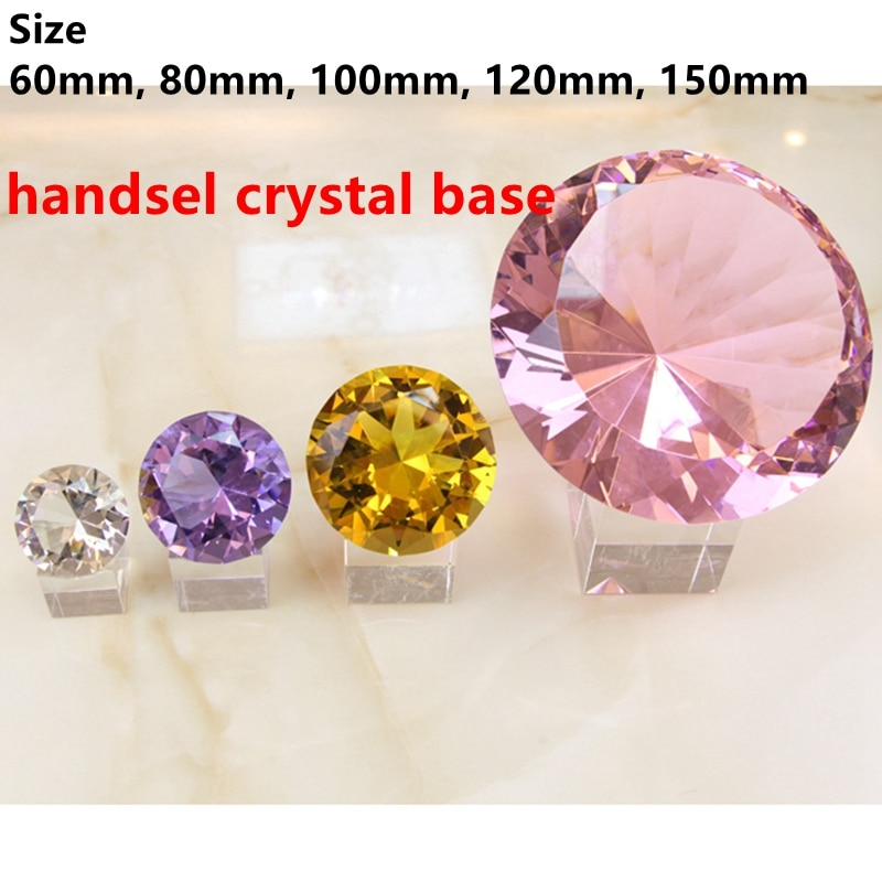 8 Colors Crystal Paperweight Faceted Cut Glass Giant Diamond Jewelry Decor Craft