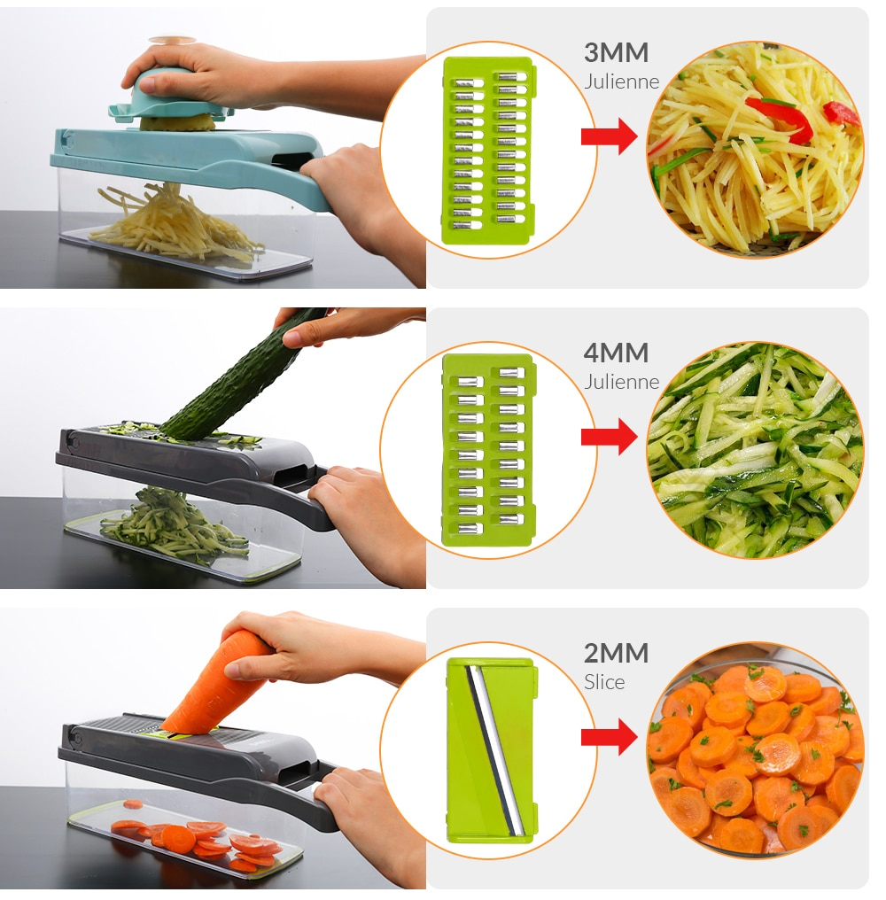 Vegetable Slicer and Cutter with Drain Basket