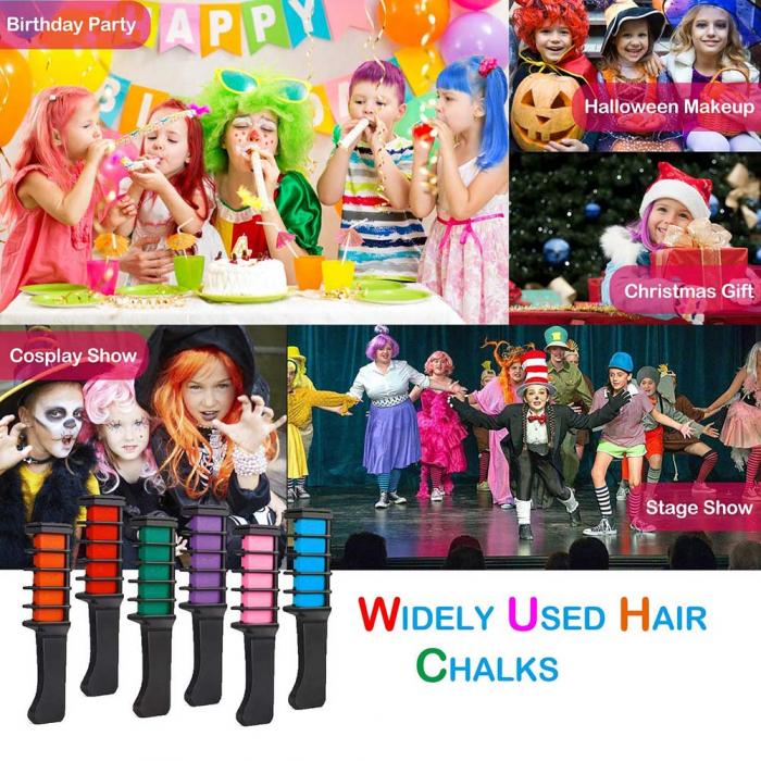 Temporary Hair Color Chalk Combs Kit 6 PCS Fashion Colorful Girls Party Cosplay Halloween Hair Salon Dyeing Combs