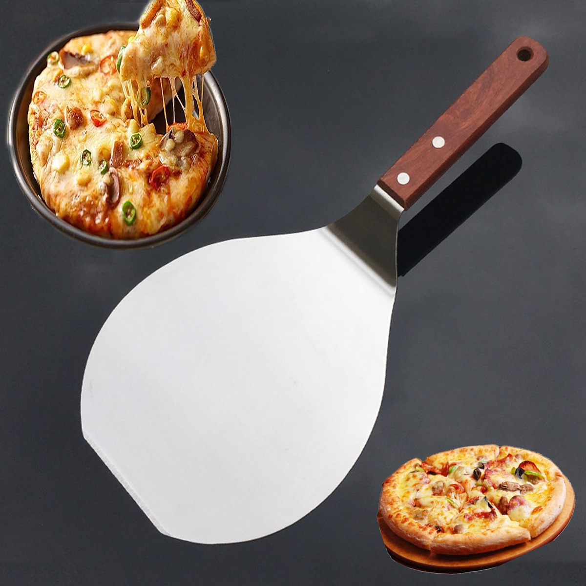 1pc Round Pizza Shovel with Wooden Handle for Oven Bread Cake Pizza Shovel Pizza Paddle Peel Spatula Cake Transfer Baking Tool
