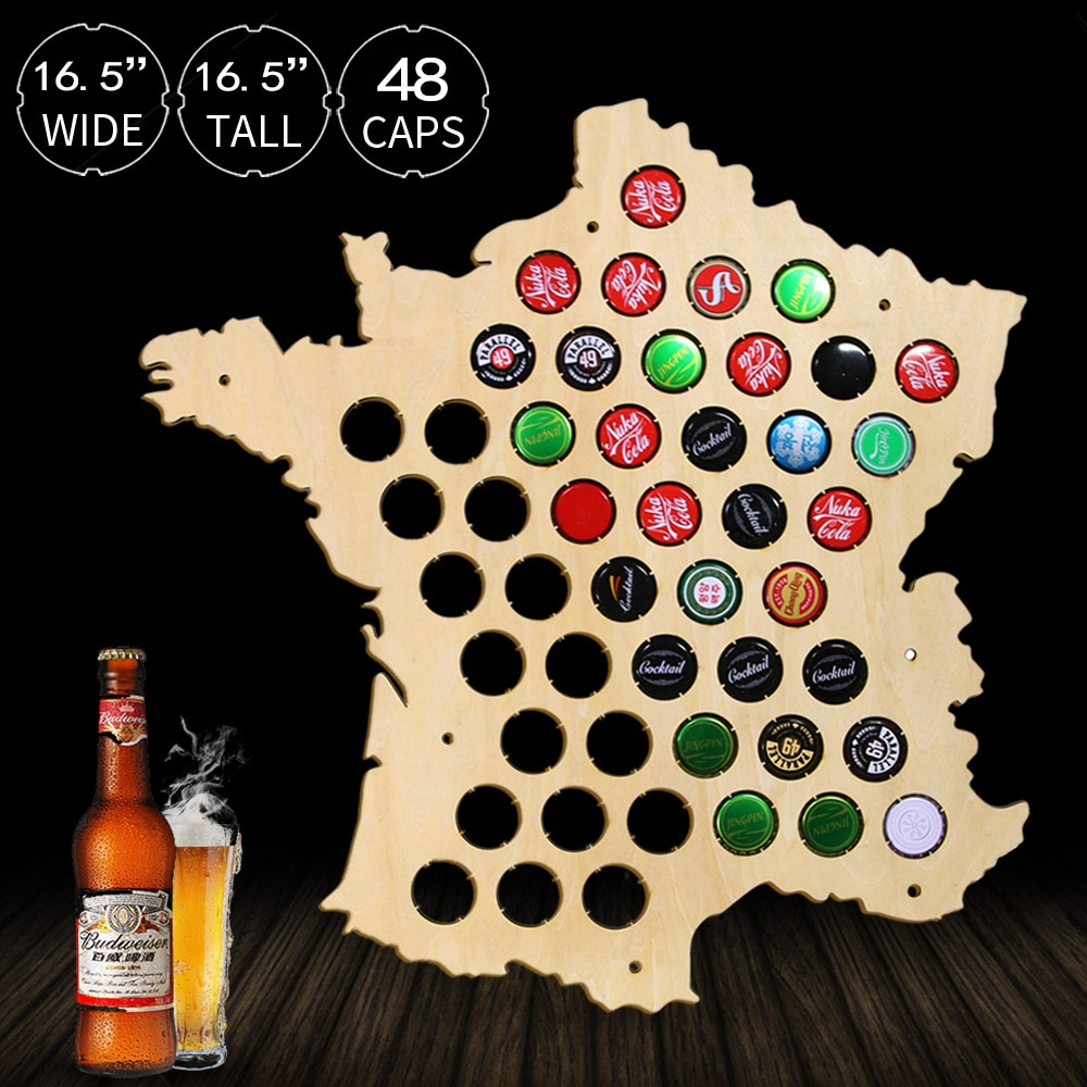 Bottle Beer Caps Map of France Laser Engraved Wood Map Wall Art For Caps Collector Home Decorative Beer Cap Display Board