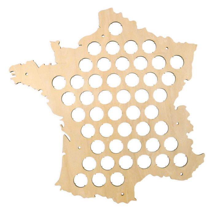 Map of France Wooden Beer Cap Collector