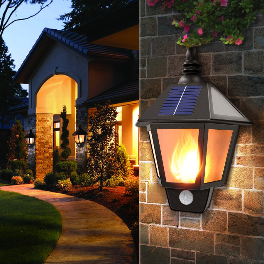 Solar Lights Solar Flame Flickering Dancing Wall Lamp Outdoor Waterproof Led Solar Landscape Decoration Lighting Security Light
