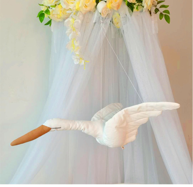 Creative wall hanging Swan Plush Stuffed Doll fabric family bedroom Nursery room decor hanging ornaments baby soothing pillow