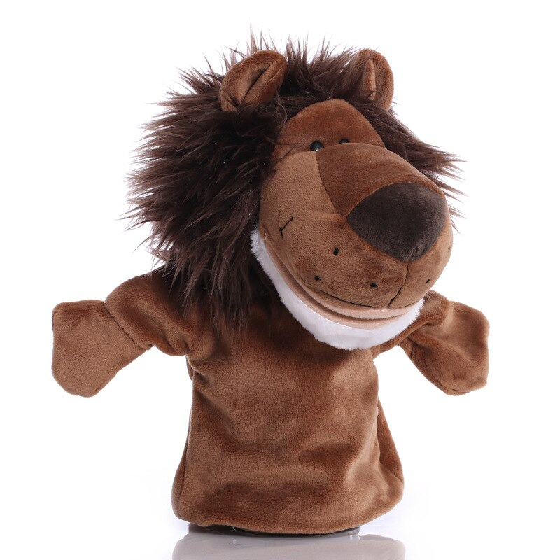 25cm Animal Hand Puppet Lion Plush Toys Baby Educational Hand Puppets Cartoon Pretend Telling Story Doll Toy for Children Kids
