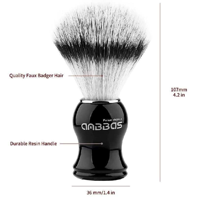 Anbbas Synthetic Badger Shaving Brush Durable Resin Handle Travel Brush,Lathering Well with Shaving Soap Cream for Men Wet Shave