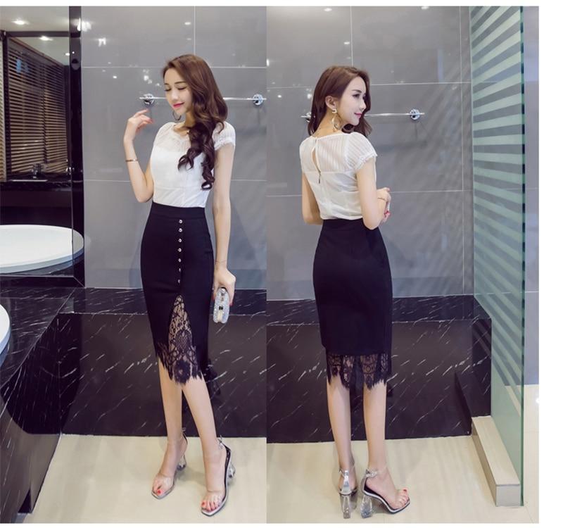 Women's Skirt High Waist Pencil Skirt Black Summer 2020 Fashion Women Knee Length Lace Patchwork Office Work Skirts Plus Size
