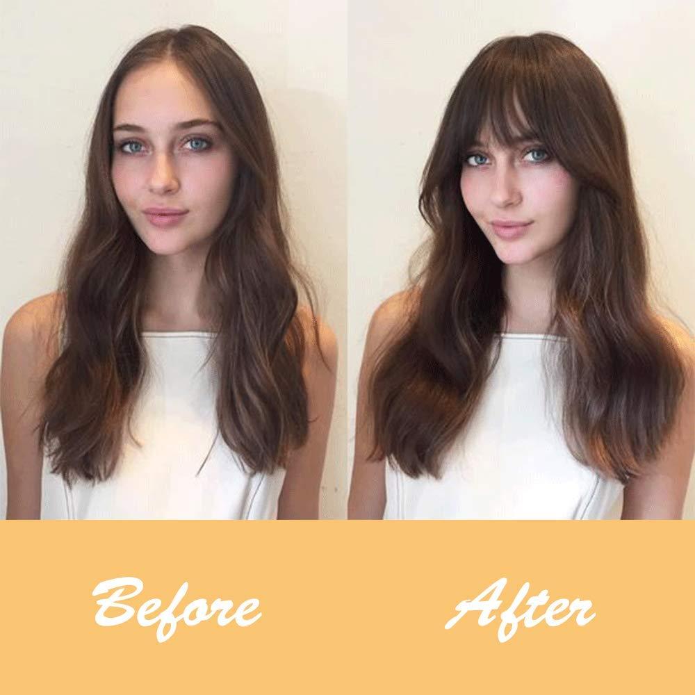 SHANGZI False Bangs Pure Bang Synthetic Hair Extension Wig Fake Fringe Natural hair bangs Black Light Brown HighTemperature wigs