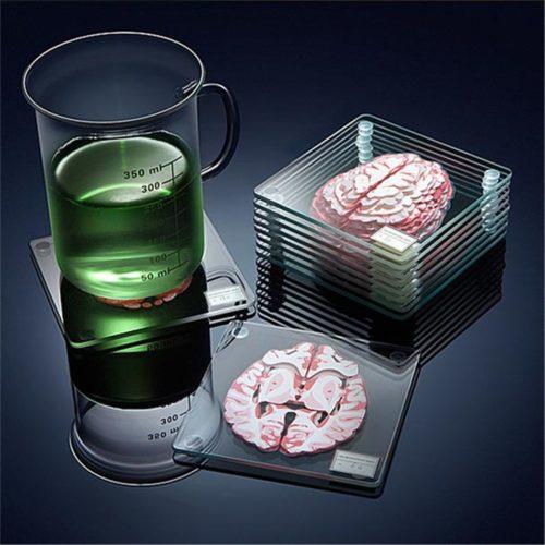 Acrylic Non-Slip Brain Coasters (10pcs)