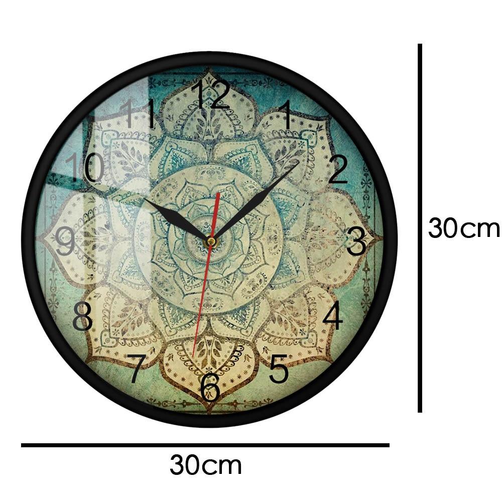 Faded Indian Mandala Floral Pattern Printed Wall Clock Vintage Bohemian Mandala Home Décor Silent Non Ticking Clock Wall Watch