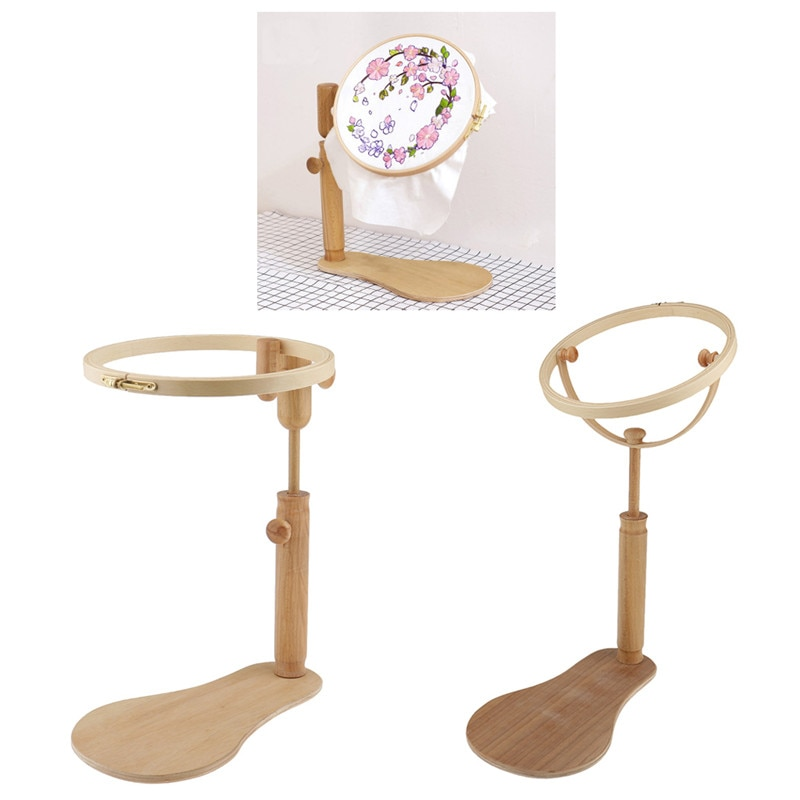 Looen Embroidery Hoop Embroidery Stand Hoop Wood Embroidery and Cross Stitch Hoop Set Ring Frame Adjustable Sewing Tools 1pc