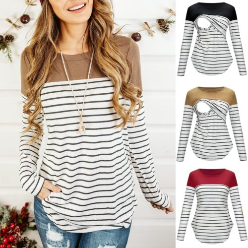 Striped Long Sleeve Breastfeeding Top