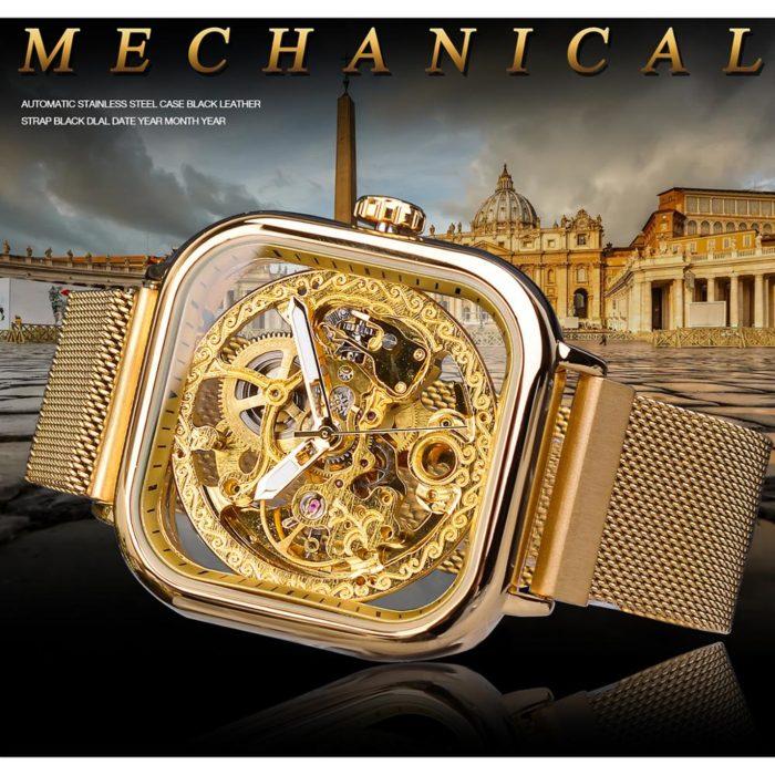 Mens Mechanical Transparent Watch