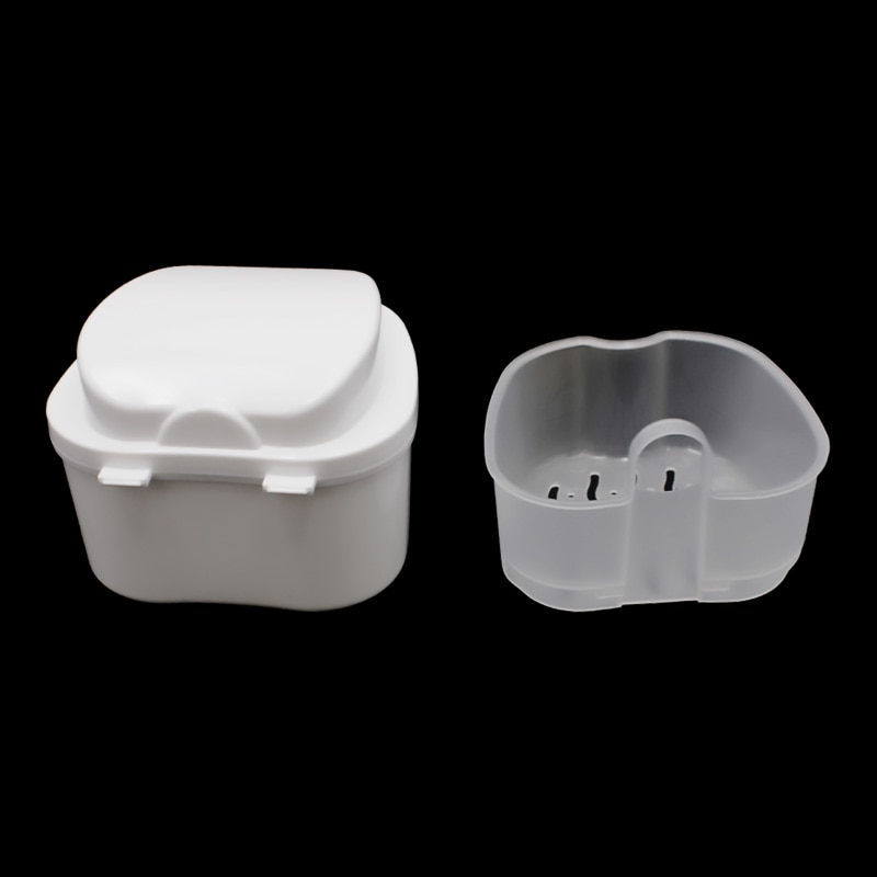 Denture Bath Box Organizer Dental False Teeth Storage Box with Hanging Net Container Cleaning Teeth Cases Artificial Tooth Boxes