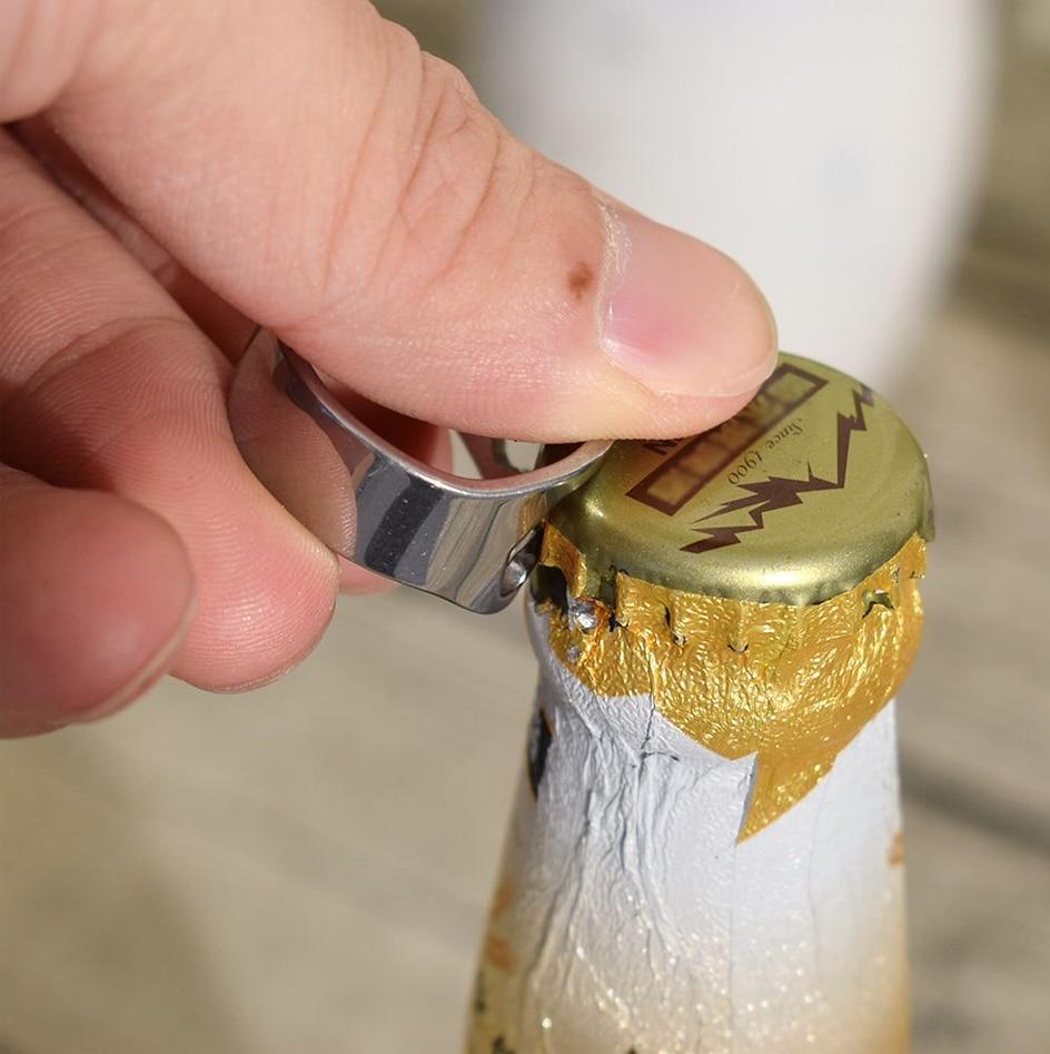 22MM Portable Mini Ring Beer Bottle Opener Stainless Steel Finger Ring-shape Bottle Beer Cap Opening Remover Kitchen Bar Tools
