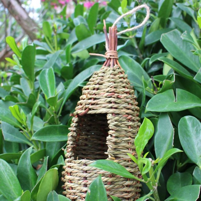Natural Grass Outdoor Hanging Birdhouse