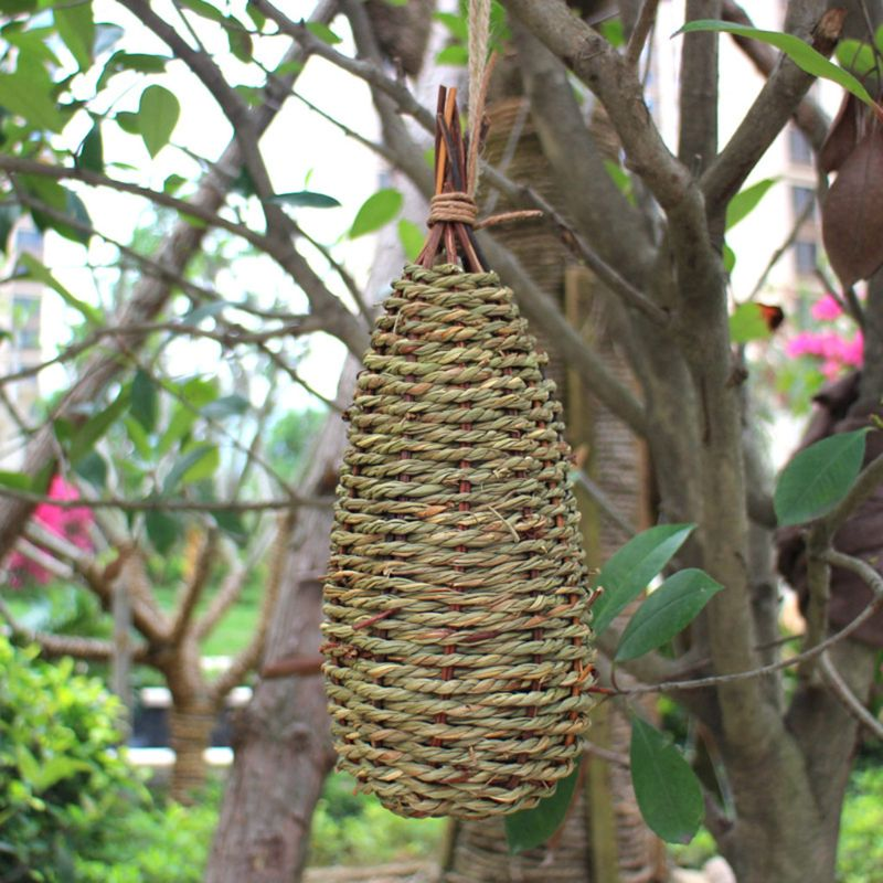 Hanging Bird House Natural Fiber Finch Bird Nest Hut Outdoor Cage Shelter Hideaway