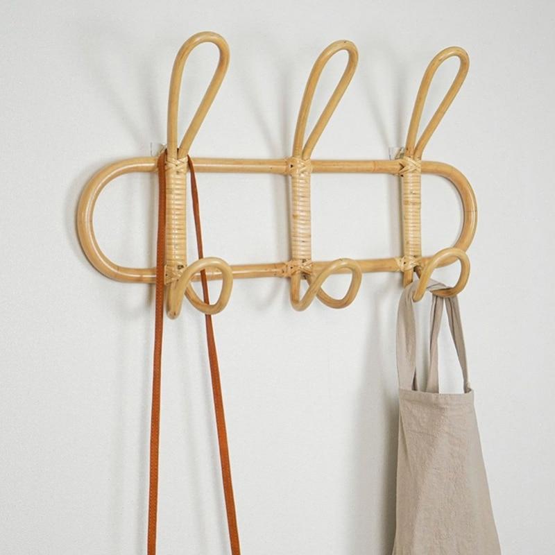 Rattan Wall Hooks Kids Garments Organizer Rack Clothes Hat Hanging Hook Rattan Hanger Kids Room Decor Hanger
