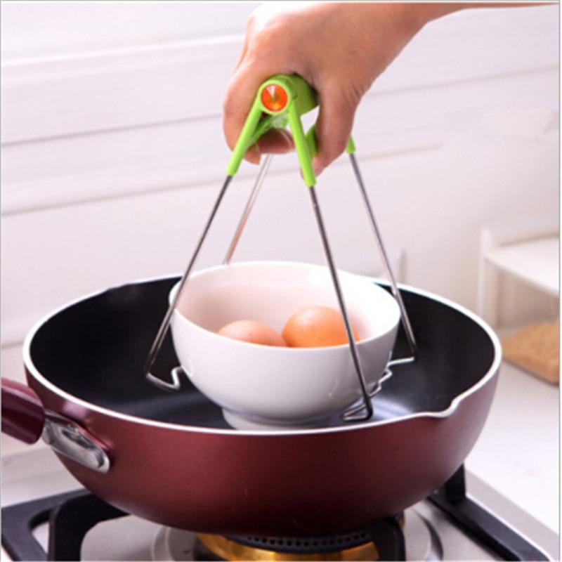 Foldavle Hot Bowl Clip Pot Dish Holder Steamer Lifter Picker Heat insulation Plate Tong Anti-hot Clamp Gripper Kitchen Tools