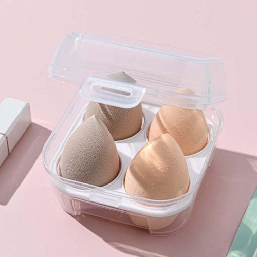 Four-Grid Transparent Makeup Sponge Case