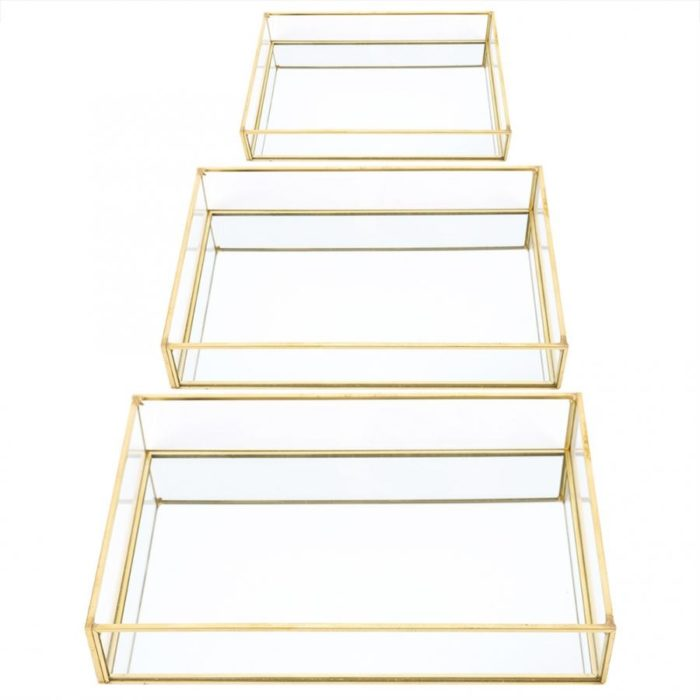 Glass and Gold Tray Home Organizer