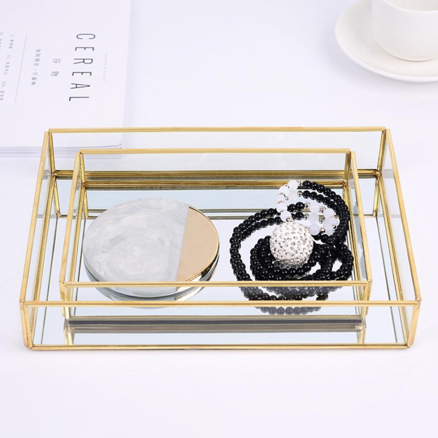 Nordic Retro Storage Box Tray Gold Rectangle Glass Makeup Organizer Tray Dessert Plate Jewelry Display