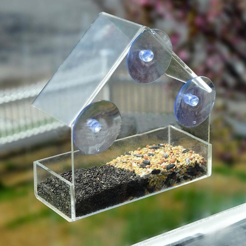 Acrylic Clear House Window Bird Feeder Birdhouse With Suction Outdoor Garden Feeding